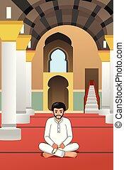 Muslim Man Praying in a Mosque