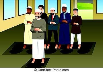 Muslim Men Praying in Mosque