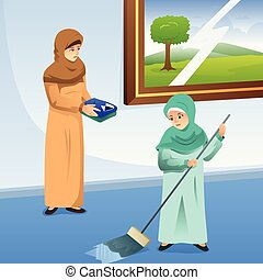 Muslim Mother and Daughter Doing Chores at Home