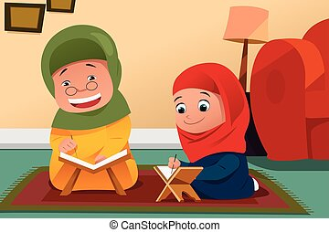 Muslim Mother and Daughter Studying Quran at Home - A vector...