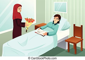 Muslim Woman Visiting a Friend in the Hospital