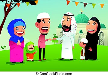 Muslims Celebrating Eid Al Fitr - A vector illustration of ...