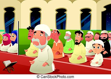 Muslims Praying in a Mosque