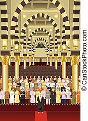 Muslims praying together in a mosque - A vector illustration...