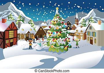 Christmas season - A vector illustration of people enjoying ...