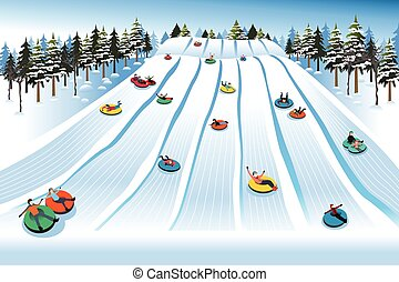 People Having Fun Sledding on Tubing Hill During Winter - A...