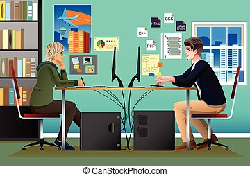 Programmer and Designer Working in an Office
