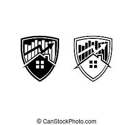 Real Estate Shield Logo Sign