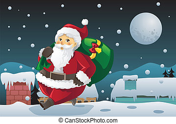 Santa Claus carrying Christmas presents - A vector...