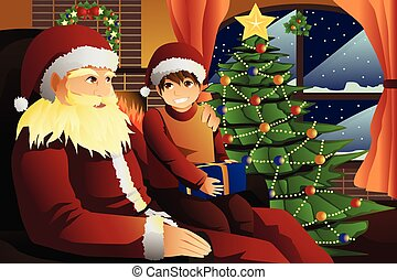 Santa Claus talking with a kid on his lap