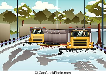 Snow Plow Trucks Clearing The Road From Snow