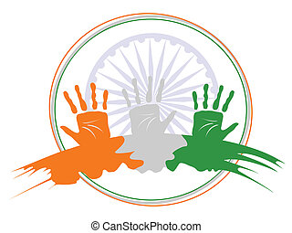 A vector illustration of three hands colored in an Indian National flag colors on Ashok wheel  frame background for Republic Day and Independence Day.