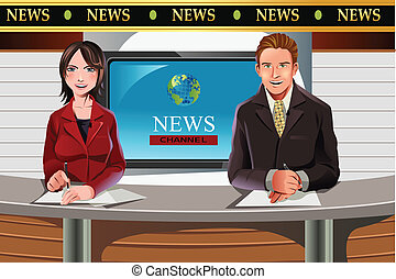 TV news anchors - A vector illustration of TV news anchors