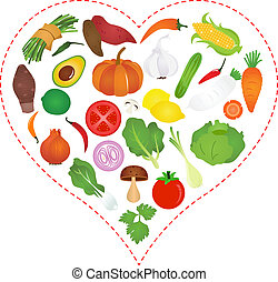 Vegetables icons inside a Heart