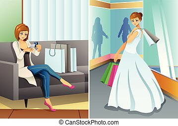 Woman Shopping Online and at Mall for Her Wedding