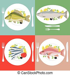 A vector illustration set of grill prepared fish with lemon and parsley
