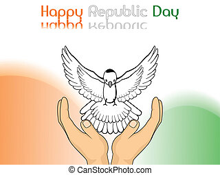 A vector illustration showing freedom, piegon released from hands on colorful  background for Republic and Independence Day.