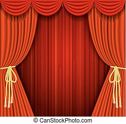 A vector illustrations of a Theater stage with red