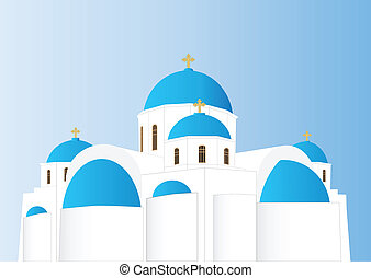 A Vector Image of a Blue and White Greek Orthodox Church with Domes and Gold Crosses