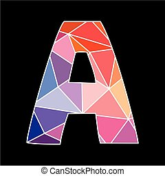 A vector low poly wrapping surface pastel colorful and white alphabet letter isolated on black background