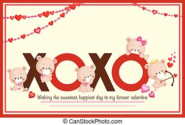A Vector of Cute Bears Card for Celebrating Valentine?s Day
