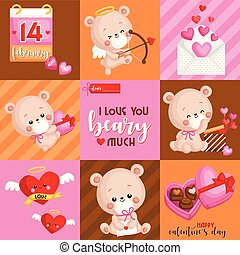 A Vector of Cute Bears Card for Celebrating Valentine?s Day in Square Composition with saying I Love You Beary Much
