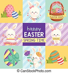 A Vector of Cute Bunny Celebrating Easter and Spring Time for Easter Card