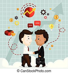 A Vector of Cute Businessmen Shaking Hands for the Partnership Agreement
