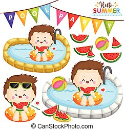 A Vector of Cute Little Boy Eating Sweet Watermelon and Partying at the Pool