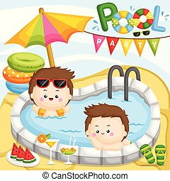 A Vector of Cute Little Boy Having a Fun Party at the Pool