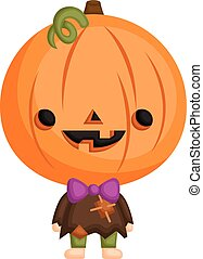 A Vector of Cute Little Kid in Halloween Pumpkin Costume