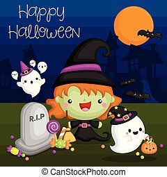 A Vector of Halloween Card with Cute Witch and Ghost at Night
