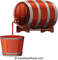A Vector of Red Wine Barrel