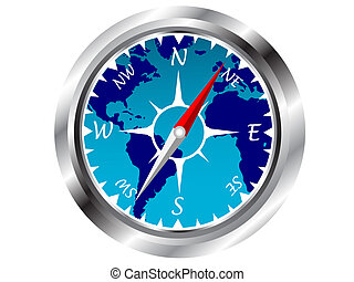 A vector representation of a navigational compass, with an ...