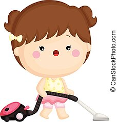 A vector set of a cute little girl cleaning room with vacuum cleaner