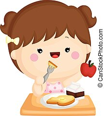 A vector set of a cute little girl eating a healthy breakfast