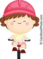 A vector set of a cute little girl riding a bicycle