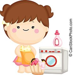 A vector set of a cute little girl washing her clothes with washing machine