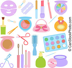 Cosmetics, Make-up in Pastel - A vector set of Cosmetics, ...