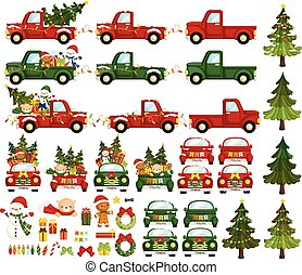 A Vector Set of Cute Colourful Christmas Truck with Lots of Christmas Characters and Items