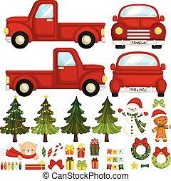 A Vector Set of Cute Red Christmas Truck and Christmas Items