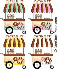 A Vector Set of Cute Various Colorful Donut Cart