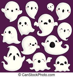 A Vector Set of Cute Various Ghosts in Different Poses
