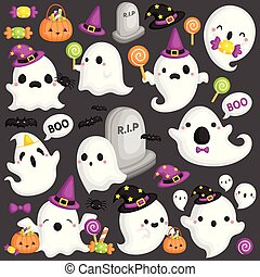 A Vector Set of Cute Various Ghosts Using Halloween Accessories