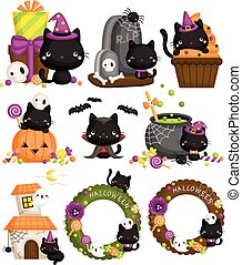 A Vector Set of Halloween Black Cat with the Halloween Items and Decoration