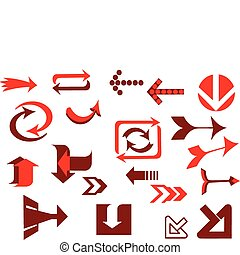 A vector set of red useful arrows-3