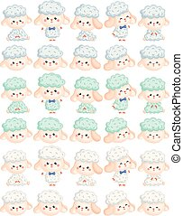 A Vector Set of Various Cute Male Sheep in Various Actions and Colors