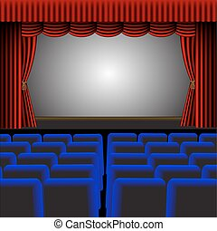 A vector theatre or cinema with a screen providing room for text