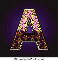 a  vector violet letter with gold