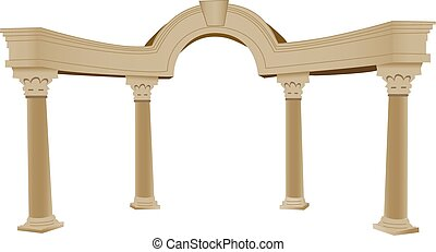 3D Greek arch and column